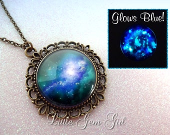 Blue Green Galaxy Necklace Glow in the Dark Jewelry Space Nebula - Vintage Style Pendant Necklace - Galaxy Jewelry Sci Fi Necklace