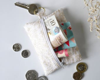 Gold Sparkly Change Purse | Wedding Shimmery Coin Purse | Fabric Small Zipper Pouch | Handmade Sparkly Coin Pouch | Mothers Day Gift