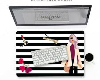 Stripe Chic Girl Stripe Black white Desk mat choose size from 18x12 or 24x14