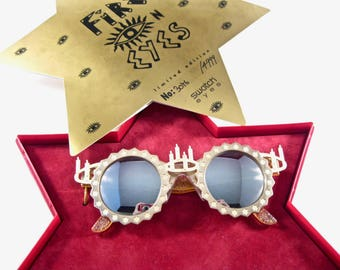 Swatch Fire On Eyes sunglasses. Round gold 1991 Hanukkah new with original box.