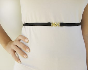 Black waist belt with gold buckle free shipping
