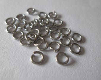 50 jump rings, 4 mm matte silver plated jump rings