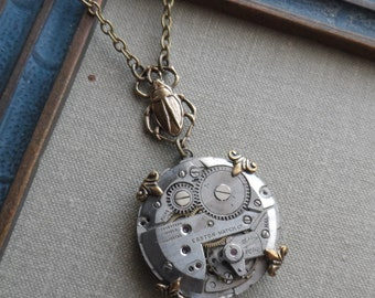 75% Off Clearance Sale- Steampunk Necklace, Beetle Bug