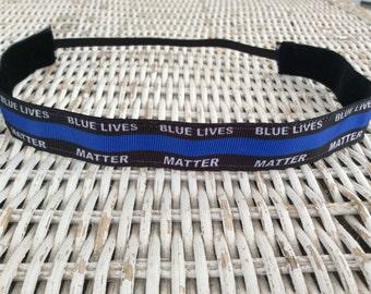Police Lives Matter Headband - Thin Blue Line Headband
