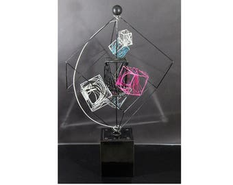 Contemporary Memphis Multi Color Abstract Signed Kinetic Wire Table Sculpture