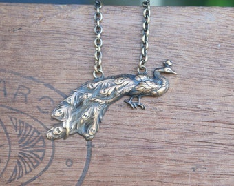 Peacock Necklace French Brass Stamping