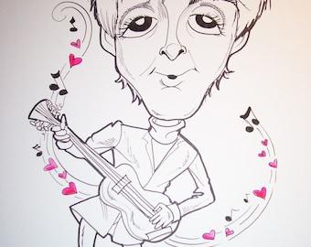 Paul Mc Cartney Rock Portrait Rock and Roll Caricature Music Art by Leslie Mehl