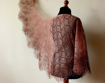 Handknitted Linen lace shawl - rectangular  brown shawl
