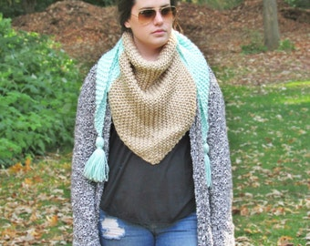 Knit Triangle Scarf, Knit Shawl, Tassel Scarf, Bandana Scarf, Knit Wrap, Women's Scarf, Chunky Knit Scarf, Gift for Her, Mint