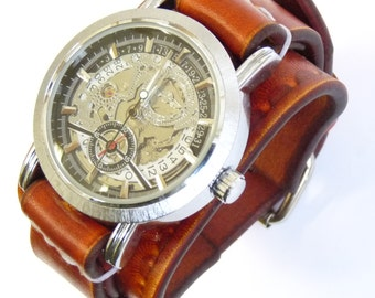 Womens leather watch, Leather cuff watch