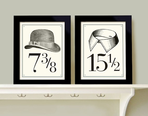 Wall art for men bedroom decor set of two prints bathroom art for Bathroom decor etsy