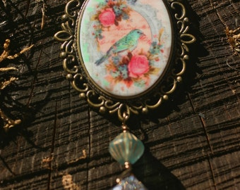 Crowned Bird Cameo Necklace
