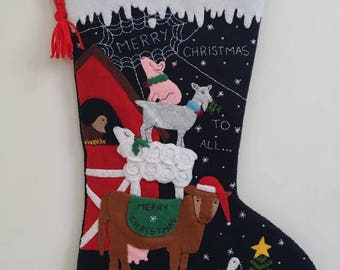 POST CHRISTMAS DELIVERY Felt Christmas stocking Merry Christmas to all stocking