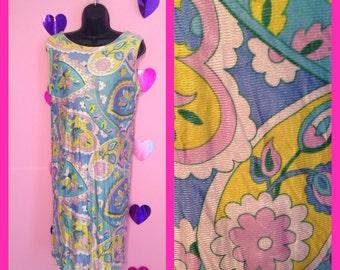Vintage Pastel Floral Shift Mod Retro Dress