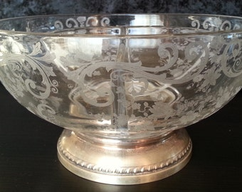 Vintage Etched Glass Serving Bowl with Sterling Silver Base SALE