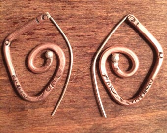 Copper and sterling sprial earrings