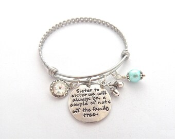 Sister to Sister Gift, Sister Bracelet, Sister to sister we will always be, Family tree, Gifts for Sisters, Aunt Gift, gifts for Aunts