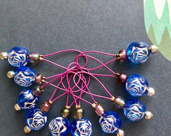 stitch markers for knitting stitch markers retro knitting notions purple markers gifts for knitters BLUEBERRY BON BON