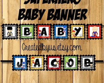 Superhero Baby Banner Superhero baby shower banner Marvel decorations Super hero Baby name banner Super baby sign assembled Its a boy banner