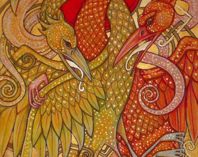 Cockatrice /  Basilisk / Snake Bird Fantasy Art Print by Lynnette Shelley