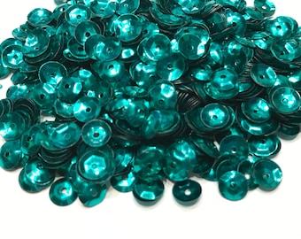 bag of teal color sequins, 5 mm (40)