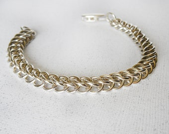 Half Persian 3 in 1 Argentium Sterling Silver Chainmaille Bracelet