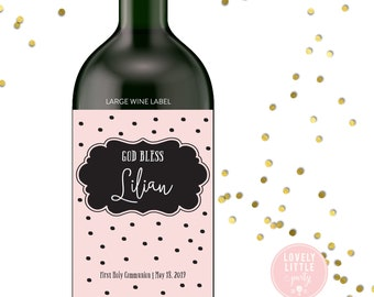 Bold Dots First Communion wine labels, Baptism wine labels, Dedication wine labels - style 1480