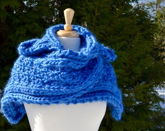 The KELLY Childs Chunky Hooded Scarf Hand knit hooded scarf/Wool/ Blue (adult size available in another  listing)