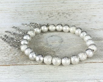 Silver Stardust Beaded Bracelet With Silver Chain