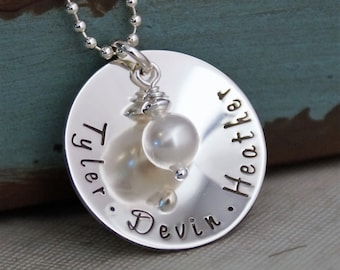 Sterling Silver Personalized Jewelry /Hand Stamped  Mommy Necklace / Simplicity Family Cup