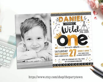 WILD ONE First Birthday Party Invitation, 1st Gold and Black Glitter Photo invite, Tribal, Boho, Teepee, Crown, Arrow,Personalized Printable
