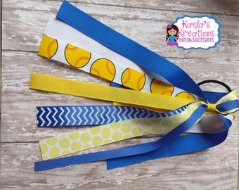 Yellow and Blue Softball Streamers,Blue and Yellow Softball Ponytail Streamers,Blue and Yellow Softball Bows,Yellow and Blue Softball.