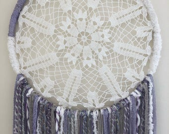 Large Dreamcatcher - purple and white (14in)