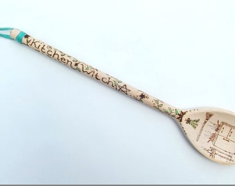 Pyrography wooden spoon kitchen witch
