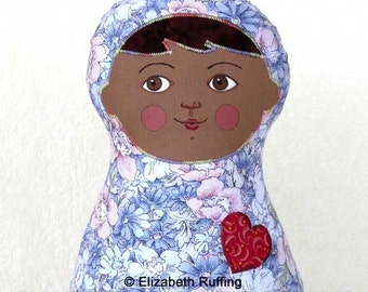 Handmade Baby Doll, Stuffed Toy Cloth Kids Art Doll, Hand Painted, Girl Gift, Personalized Hang Tag, 11 in, Blue, Pink Flowers, Ready-made