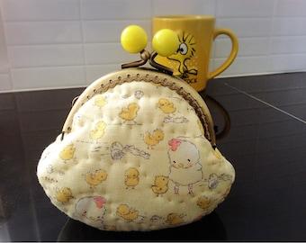 Cute chicky nursery coin purse yellow bead kiss kock metal frame