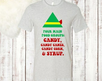 Four Main Food Groups Elf Tee, Christmas Tee, Elf Shirt, Christmas Elf Gift