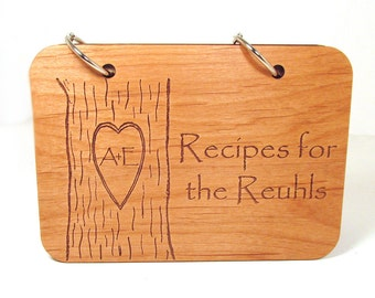 Personalized Wooden Recipe Book - Carved Tree Design