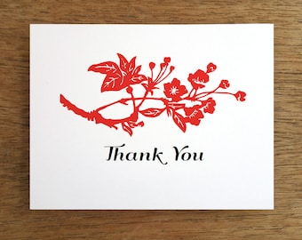 Printable Thank You Card - Instant Download Thank You Note - Thank You Card - DIY Thank You Note - Red & Black Thank You PDF - Asian Note