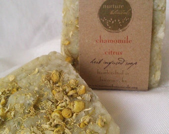 Chamomile & Citrus Vegan Soap, Handmade with Essential Oils, Organic Herbs