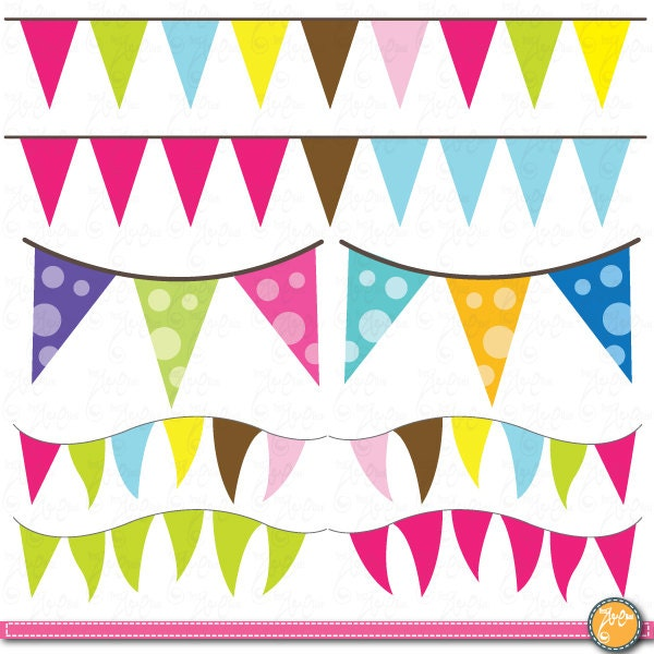Colorful Bunting Clipart Party Perfect For