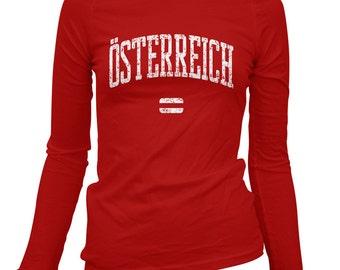 Women's Osterreich Long Sleeve Tee - S M L XL 2x - Ladies' Austria T-shirt, Österreich, Vienna, Innsbruck, Graz, Salzburg - 3 Colors