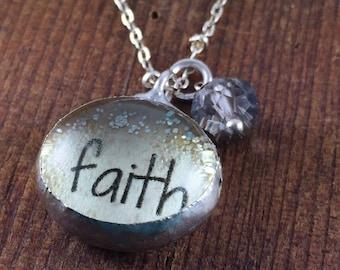 FAITH Necklace, Inspiring Jewelry, Soldered Glass Bubble Charm Necklace, Soldered Glass Necklace, Religious Gift, Kyleemae Designs