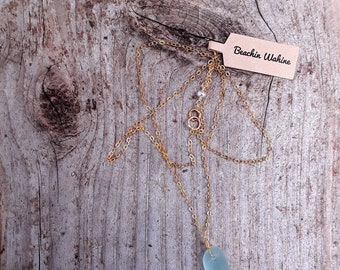 Breezy beach glass pendent necklace,14k gold filled,pearl,beachy,made in hawaii,bridal
