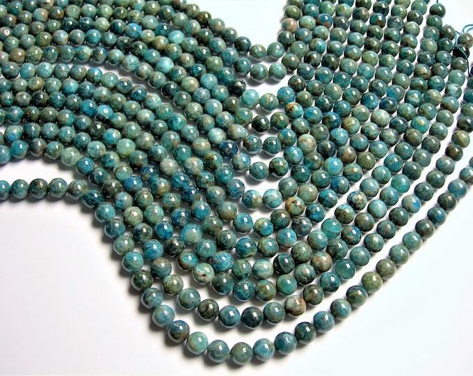 Blue Apatite - 8mm round beads - Full strand - 49 beads - Flower Apatite -  RFG1349