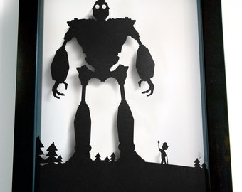 Iron Giant and Hogarth shadow cut - handmade paper shadow box wall art decor papercraft best friends artwork UNFRAMED