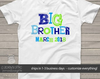Big Brother shirt- funky fonts - big brother and due date MSMP-012
