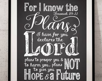 Graduation Print, Bible Verse Chalkboard Art Print, Jeremiah 29:11 Print, Scripture Chalkboard Print, For I know the plans I have for you