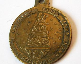 Antike unserer lieben Frau von Bon Secours Belgien Französisch religiösen Medaille Anhänger aus den 1800er Jahren
