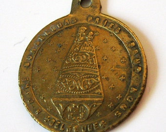 Antique Our Lady of Bon Secours Belgium French Religious Medal Pendant Charm 1800s